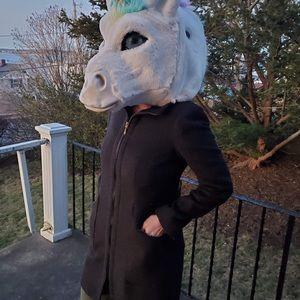 😻Zara Basic Gray/Black Wool Fitted Coat
